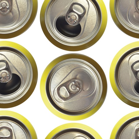 seamless background made with refreshment cans isolated on white photo