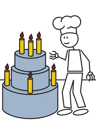 illustration of a boy with a big cake. stick figure illustration