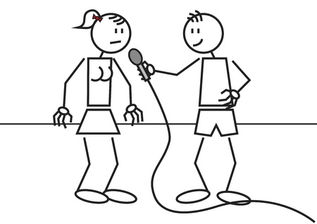 illustration of an interview with two stick figures illustration