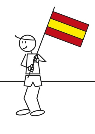 spanish fan: Vector illustration of a boy with a Spain flag. Stick figure