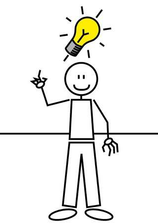 illustration of a boy with an idea. Stick figure illustration