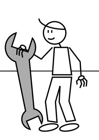 illustration of a man with a spanner. Stick figure illustration