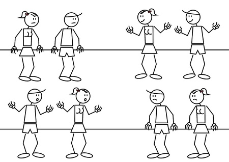 different figures: Some stick figures with different facial expressions: happy, sad, surprised and bored