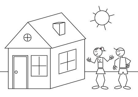 investment real state: Ilustración de una pareja feliz con una casa. Figura del palillo