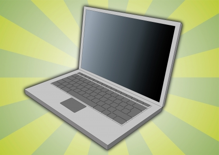 Side view Illustration of an open laptop. Business computer equipment illustration