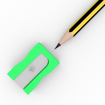 sacapuntas: Vista superior de un sacapuntas en verde con un lápiz Foto de archivo