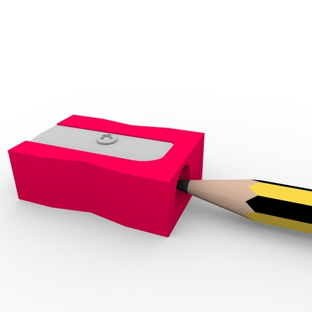 sharpener: Illustration of a pencil sharpener in red with a pencil