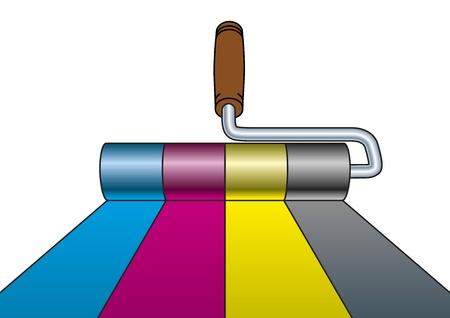 farbrolle: Illustration von einem Farbroller Malerei in CMYK-Farben