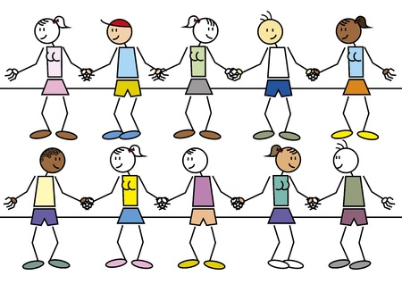 camaraderie: Illustration of a interracial huddle making a chain. Childhood concept