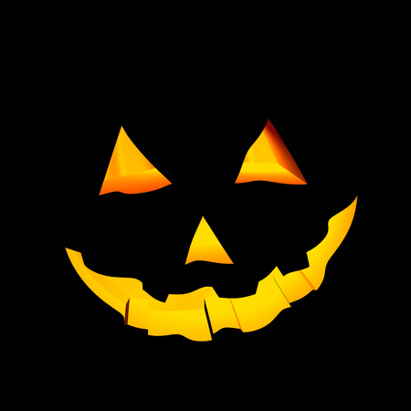 Illustration of a face carved in a halloween pumpkin Stock Photo