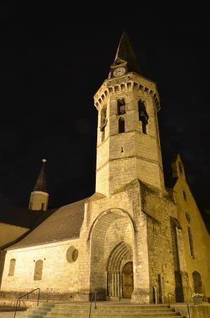 aran: Night view of church of Sant Miquel. Valle de Aran, Vielha, Lleida, Spain Editorial
