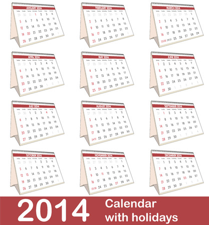 2014 vector calendar with USA holidays photo