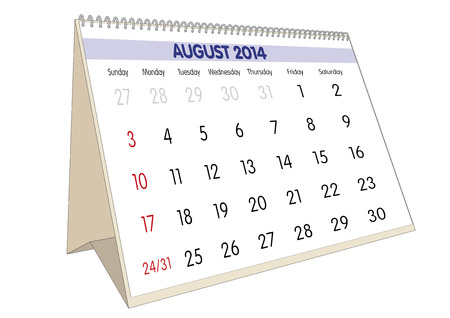 August sheet in an english Calendar for 2014. Stock Photo - 23010506