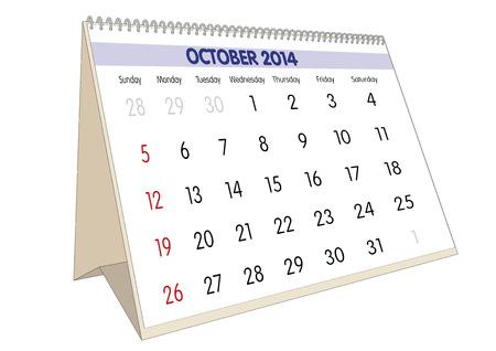 October sheet in an english Calendar for 2014. Stock Photo - 23010515