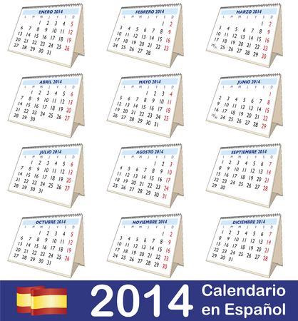 2014 vector calendar. Twelve months in Spanish photo