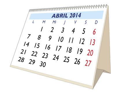 April sheet in an spanish 2014 Calendar. Montly planner