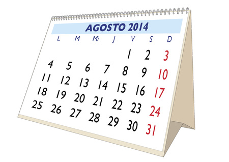August sheet in an spanish 2014 Calendar. Montly planner Stock Photo - 23011540