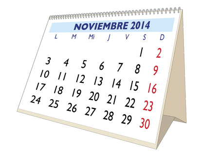 November sheet in an spanish 2014 Calendar. Montly planner Stock Photo - 23011550