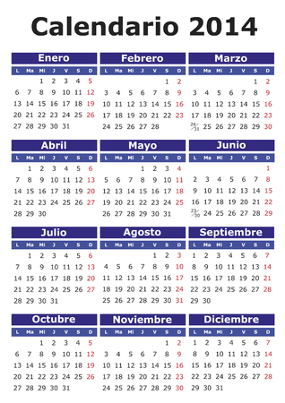 2014 vector calendar in Spanish. Easy for edit and apply photo