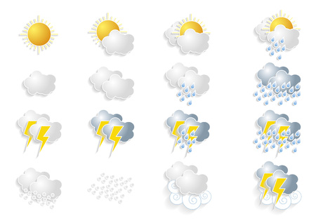 meteorologist: Set of weather and meteorology icons over a white background