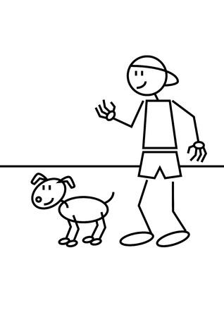 drawing an animal: Bastone figura di un ragazzo con un berretto di un suo cane