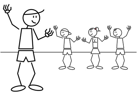A group of kids greet a friend from far. Stick figures Vector