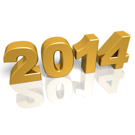 Golden new year 2014 with reflections  3d render Stock Photo - 23470136