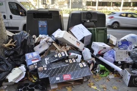 MADRID, SPAIN - NOVEMBER 14: Garbage on the ground in Madrid due to strike of garbage collection on November 14, 2012 in Madrid Spain.