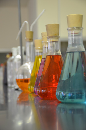 Some flasks in the chemical laboratory. Investigation and experiment concepts. photo