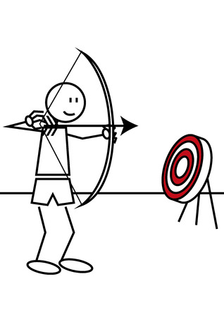 archery target: Stick figure of a boy practising archery. Sports and leisure concept