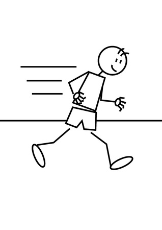 Stick figure of a boy running. Stports and leisure concept Vector