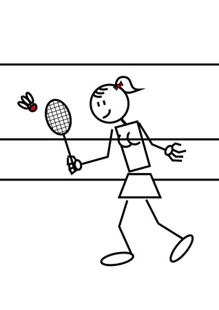shuttlecock: Stick figure of a girl playing badminton. Sports and leisure concept Illustration