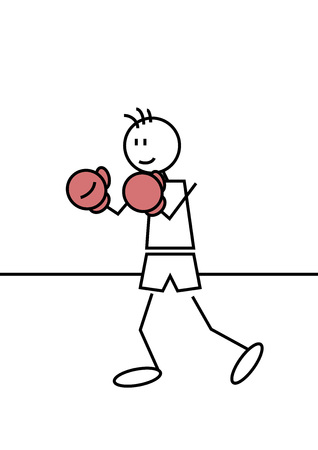 Stick figure of a boy boxing. Sports and leisure concept Vector