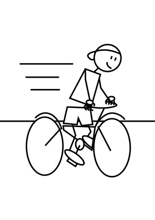 Stick figure of a boy mounted in a bike. Sport and leisure concept Illustration