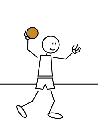 sportsman: Stick figure of a boy playing handball. Sports and leisure concept