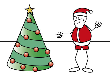 nicholas: Stick figure of a boy with a Santa Claus costume and a christmas tree  Xmas concept
