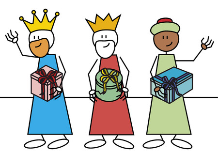 reyes magos: Pegue las figuras de los tres reyes magos con regalos caracteres tradicionales espa�oles que dan regalos a los ni�os Vectores