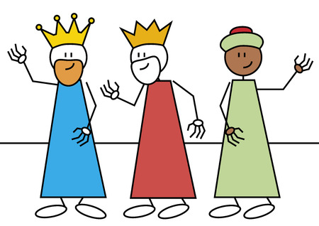 wise men: Stick figures of the three wise men  Spanish traditional characters that give gifts to the child