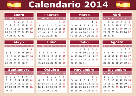 weekday: 2014 horizontal vector calendar in Spanish  Easy for edit and apply