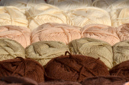 skein: Some balls of wool in brown tones Stock Photo