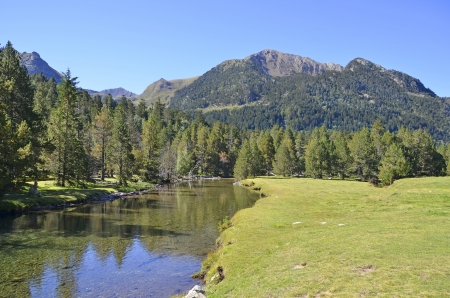 sant: Tranquil scene in Aiguestortes i Stany de Sant Maurici National Park. Vall dAran, Lleida, Catalonia, Spain