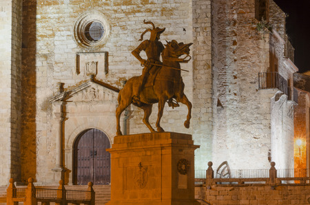 pizarro: Equestrian statue of Francisco Pizarro in Trujillo at night  Trujillo is a famous town in the province of Caceres, Extremadura, Spain Stock Photo