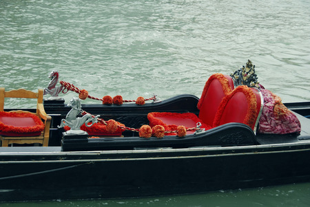 Detail of the seats of a gondola in Venice photo