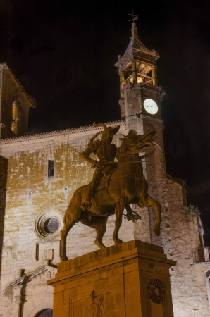 pizarro: Equestrian statue of Francisco Pizarro in Trujillo at night  Famous town in Caceres, Extremadura, Spain