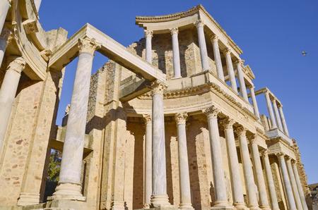 merida: Columns in the roman amphitheater of Merida. Emerita Augusta. Badajoz, Extremadura, Spain