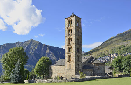 Belfry and church of Sant Climent de Taull, Lleida, Catalonia, Spain.  photo