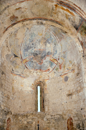 fresco paintings of the Pantocrator in Sant Climent de Taull, Catalonia Spain  photo