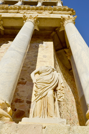 roman classical sculpture in the amphiteather of Merida, Badajoz, Extremadura, Spain photo