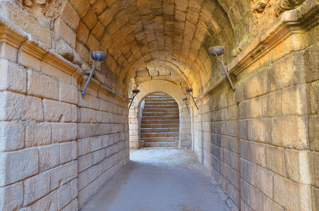 Roman corridor inthe amphitheater of Merida, Badajoz, Extremadura, Spain photo