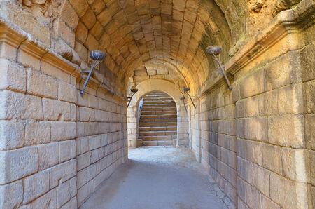 merida: Roman corridor inthe amphitheater of Merida, Badajoz, Extremadura, Spain